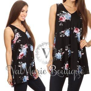 Black Floral Sleeveless Tunic Top