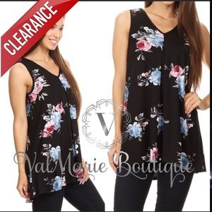 📍CLEARANCE 📍Black Floral Sleeveless Tunic Top