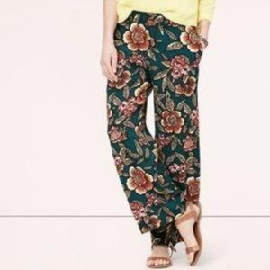 Loft floral wide leg summer pull on pants