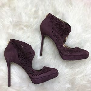 Aerin Shoes - Aerin Sullivan Burgundy Suede Cut Out Booties