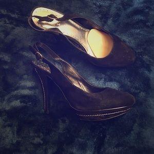 Selling all black suede openback heels