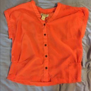 Myths Tops - Short sleeved orange blouse