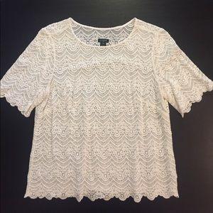 J. Crew White Ivory Lace Shirt w/ Scallop Details