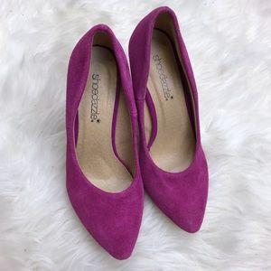Shoe Dazzle Shoes - Shoedazzle Kiara Purple Faux Suede Pointed Pumps