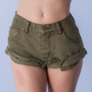 Pants - BLOWOUT SALE LAST2// New OLIVE Button-fly Shorts