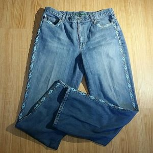 RALPH LAUREN BLUE BEADED JEANS SIZE 14