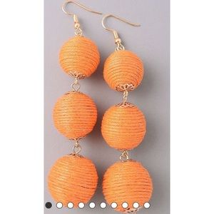 Orange drop ball earrings