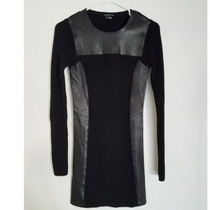 Theory Black fitted Wool Dress Leather Accent Smal