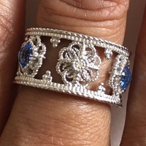Jewelry - Synthetic Blue Quartz & White Sapphire Ring (Sz 7)