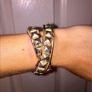 Jewelry - Cheetah print fur & student wrap cuff bracelet