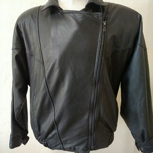Other - Leather motorcycle jacket black side zip Medium