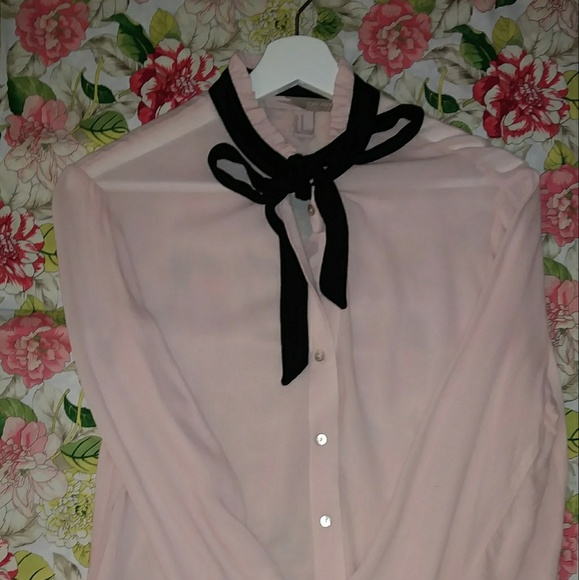 Pink Blouse With Black Bow 20
