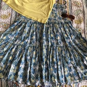 Flowy Blue & Yellow Floral Skirt