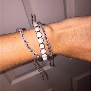 Jewelry - Brown leather pearl & crystal bracelet set