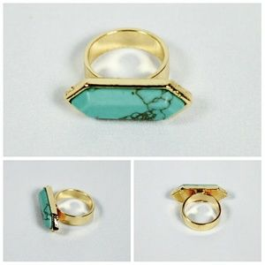 T&J Designs Jewelry - HP🍾 Modern Turquoise Marbled Stone Ring