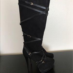 Shoes - Over the knee black platform heels wrap accent