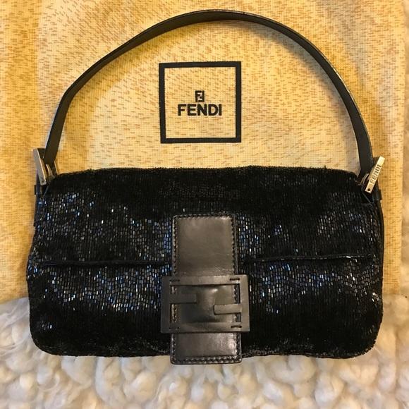 18b4e74a8a0f Fendi Handbags - Fendi black sequin baguette