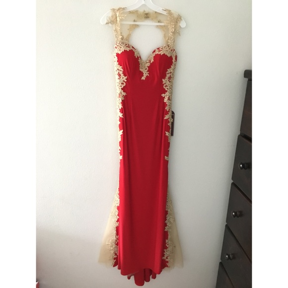 Leonia Lee Dresses | Red W Gold Prom Dress | Poshmark