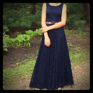 City Triangles Dresses & Skirts - Evening dress (Blue) Long and Lacy...  Size- 5