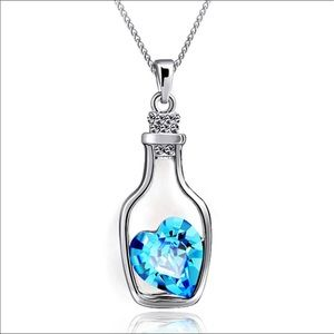 Jewelry - Blue Heart of the Ocean Bottle Necklace