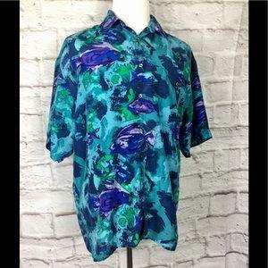 Hilo Hattie mens large 100% silk Hawaiian shirt