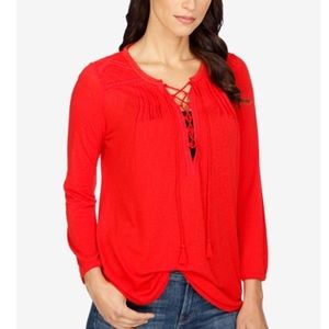NWT Lucky Brand Lace-Up Peasant Top