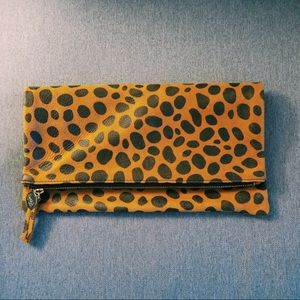 Clare V Leopard Leather Foldover Clutch