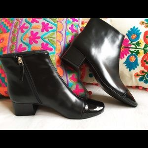 NWT Zara black patent leather toe booties