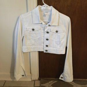 Motherhood maternity crop white denim jacket