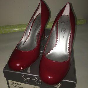 JSimpson red patten leather heels
