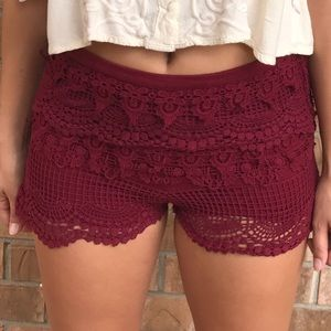 Pants - Maroon Lace Crochet Fitted Soft Shorts