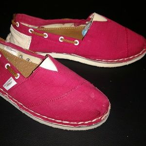 Aloha Island Shoes - Red slip on shoes LIKE TOMS nautical BOAT shoes