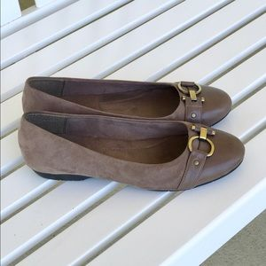 A2 By Aerosoles Shoes - Taupe suede and leather like material flats