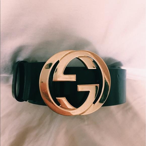 92a1791d4ac5 Gucci Accessories | Belt Black Leather Gold Emblem | Poshmark