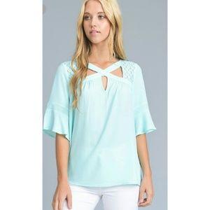 Tops - Unique aqua bell sleeved top