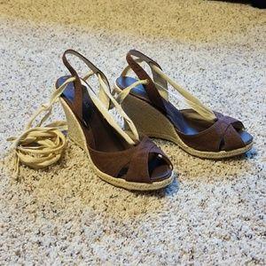 Banana Republic Shoes - Banana Republic-Brown Espadrille Ankle Wrap Wedge