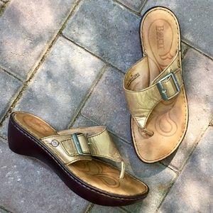 Born Shoes - Born gold leather wedge sandal- sz 7