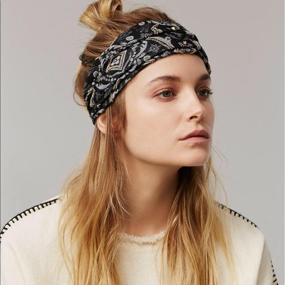 Free People Beaded Guaze Wideband Headwrap 0eb4da9b8db