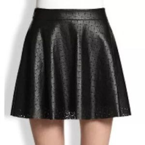 Mimi Chica Dresses & Skirts - Black Faux Leather Skater Mini Skirt perforated M