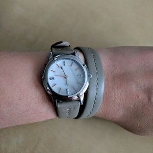 Double wrap leather watch