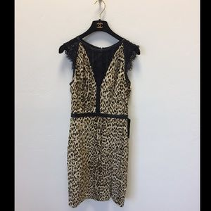 Guess Leopard print lace dress size small new
