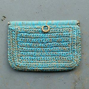 Handbags - JUTE & TEAL WOVEN ITALIAN MADE CLUTCH PURSE