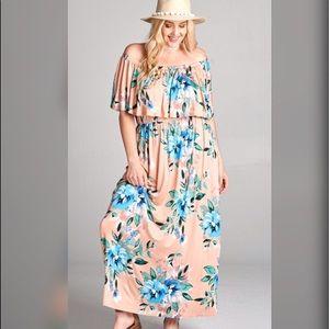 Dresses & Skirts - 💎PLUS💎NEW💎Off the Shoulder Blush Maxi Dress