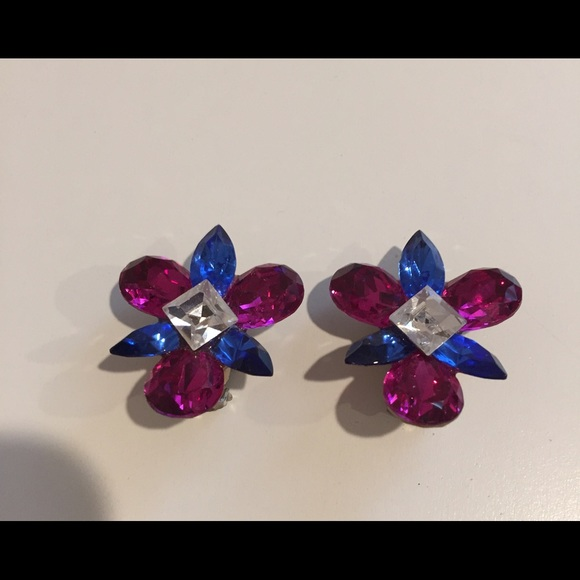 nordstrom clip on earrings nordstrom swarovski vintage blue pink clip 3586