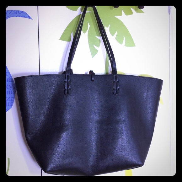 2f41f7ccaecf Zara Basic Reversible Black Red Tote Bag