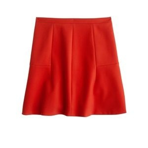 J. Crew Fluted Skirt Double Crepe Red 2 Mini