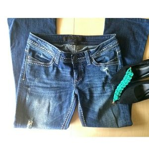 Bebe Distressed Bootcut Jeans