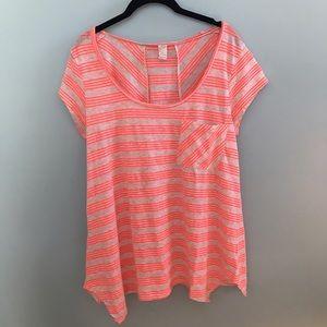 Prana Orange and Cream Striped Shirt