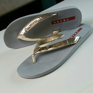 Women's PRADA Gold Logo Flip Flop Sandals 10
