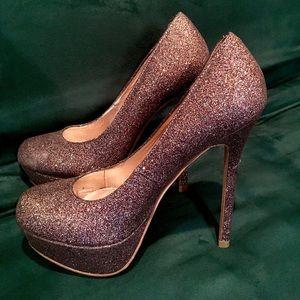 Betsy Johnson Glitter Platform Heels